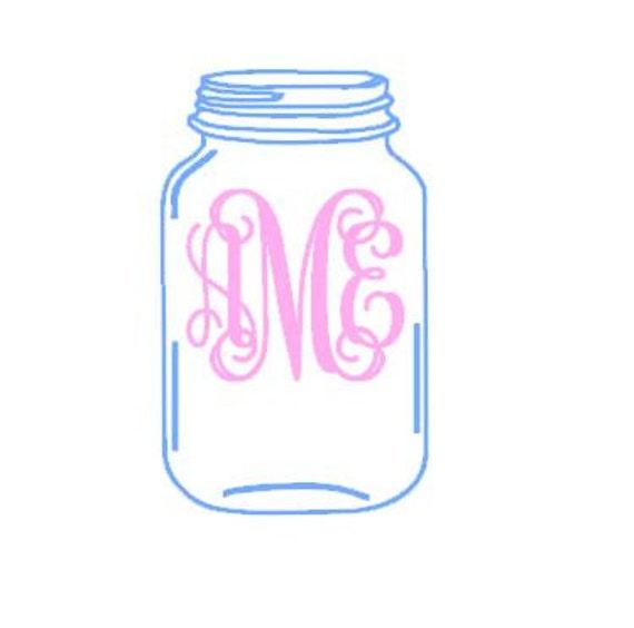 Mason Jar Monogram instant download cut file - SVG DXF EPS ps studio3  studio (monogram font sold separately)
