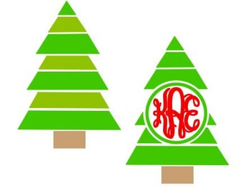 Christmas Tree digital download cutting file for cutting machines - SVG DXF EPS ps Studio3 Studio (monogram font sold separately)
