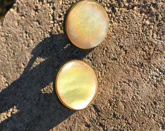 Mother of Pearl Cuff Links and matching Tie Clip