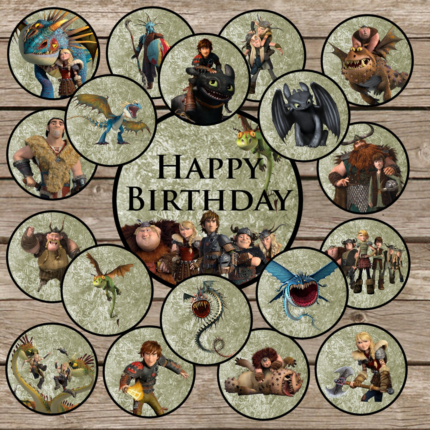 19 How to train your dragon Cupcake Toppers Digital ...
