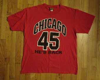 761818dfa144ae Rare Vintage Michael Jordan  45 Chicago Bulls Nutmeg Mills T-Shirt Size XL  USA Made
