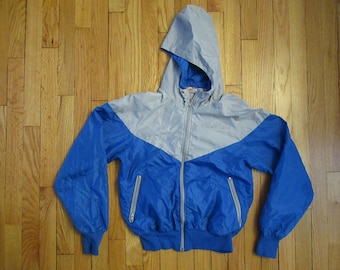 9d1fdee8a0 Vintage Nike 70s 80s Windbreaker Orange Tag Nylon Jacket Hood Colorblock S  USA