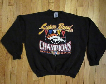 Rare Vintage 90 s Denver Broncos Super Bowl Champions Black Crewneck Sweatshirt  X-Large 26bd38467