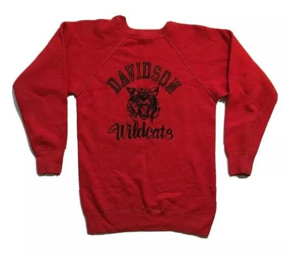 Vintage 60's Davidson Wildcats Hanesport Raglan Cr