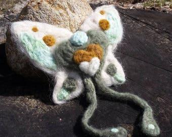 Gnome Wings Fairy - Goldenheart, OOAK needle felted fairy doll