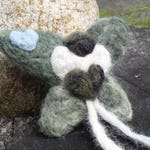 Gnome Wings Pixie-  Healing Heart, OOAK needle felted fairy doll