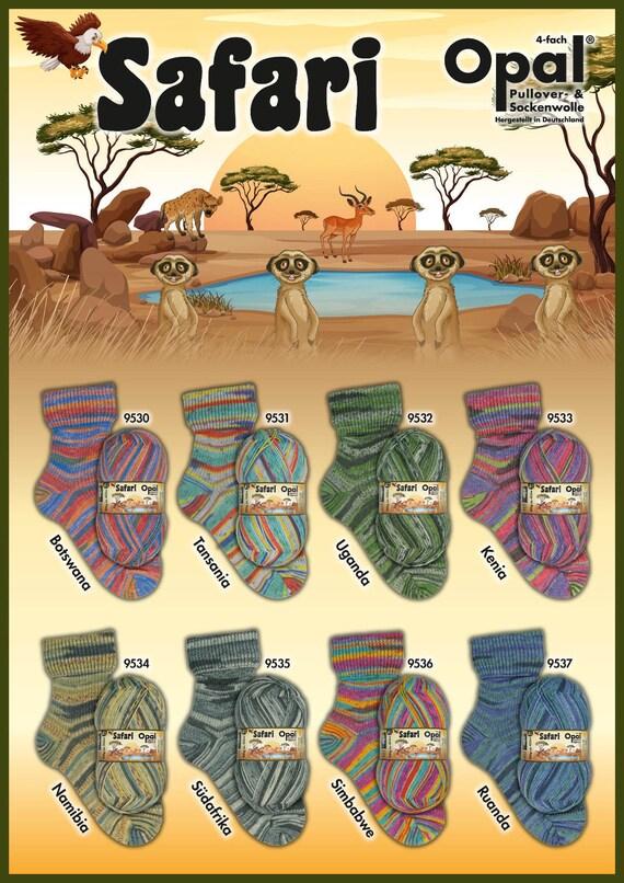 Opal Sock Yarn 9532 Safari Uganda 75/% wool 25 nylon 100 grams 462 yards superwash fingering Ba11