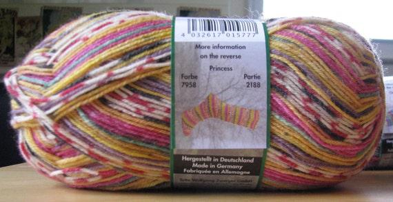 Opal Sock Yarn 9325 Wetterleuchten 75/% wool 25 nylon 100 grams 462 yards superwash fingering bright colors wide stripes