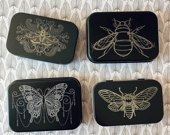 Beautiful Insects Tins: Engraved Metal Boxes with Hinged Lids for Gift Cards, Playing Cards, Purse Org, Survival Kit, Cosmetics and More