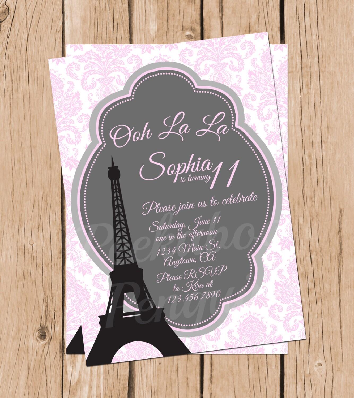 Tween Birthday Invitations Paris Invitations Teen Birthday