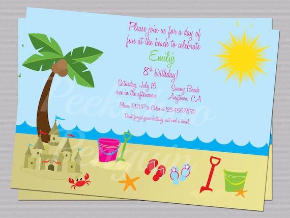 Beach Invitations Ocean Birthday Party Invites Kid S Etsy