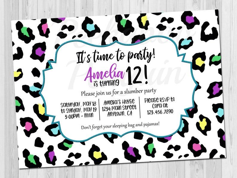 Teen Birthday Invitation Tween Invite Rainbow