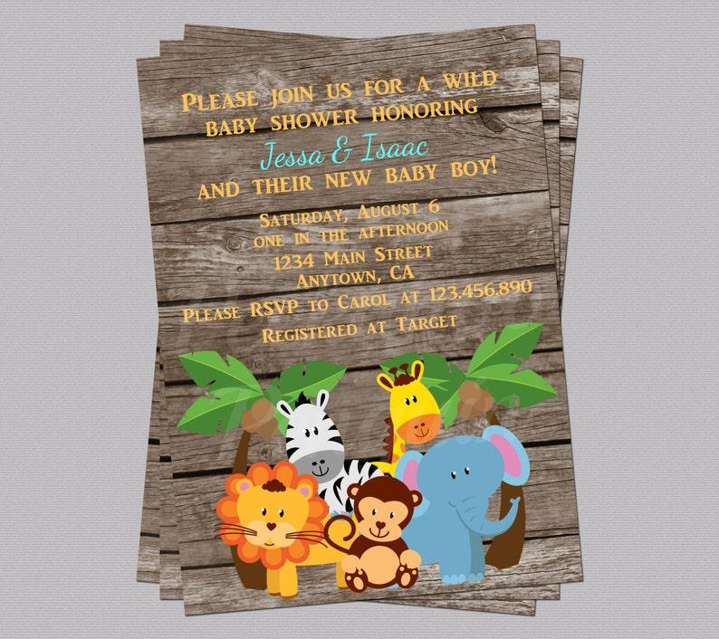 Jungle Baby Shower Invites Zoo Animal Baby Shower Jungle Etsy