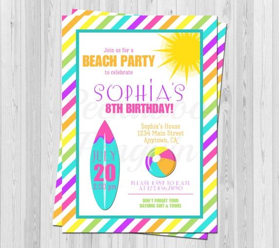 Beach Birthday Invitation Kids Invite Girls Surfing Printable Party Pool Tween