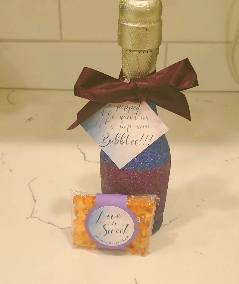 Custom Engagement Announcement Tags 12 pack He popped the question FREE SHIPPING