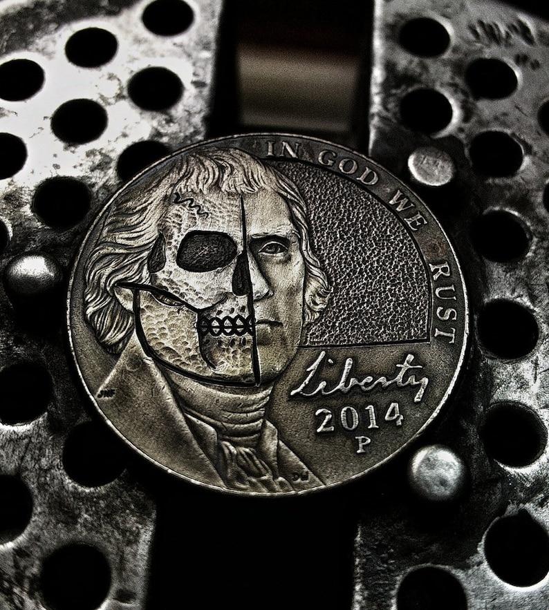 Jefferson Half Skull Face Nickel!