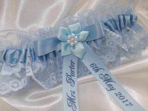 Personalised Garter Wedding Bride Something Blue Bride Handmade Lingerie Pearl