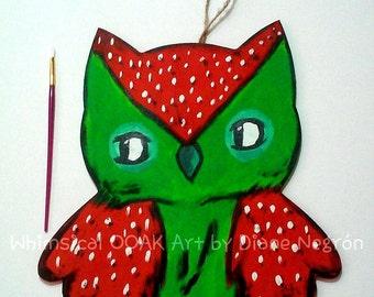 Owl wood hanging, strawberry wall hanging, baby girl nursery, cute owl art, sweet lolita decor, baby shower gift, whimsical ooak animal art