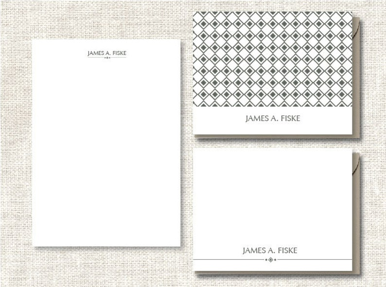 Complete Personalized Stationery set Modern Geometric Design