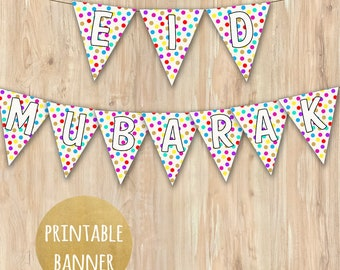 Printable EID Banner in Polkadots with Gold | Islamic Event/ Party Decor | Bunting, Artwork, Digital | Printable