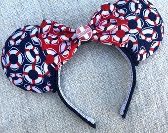 CUSTOM NAUTICAL MINNIE Iron On Decal For Shirt Disney Cruise Yacht Club Nautical Captain Minnie Ears Magic Dream Fantasy wonder