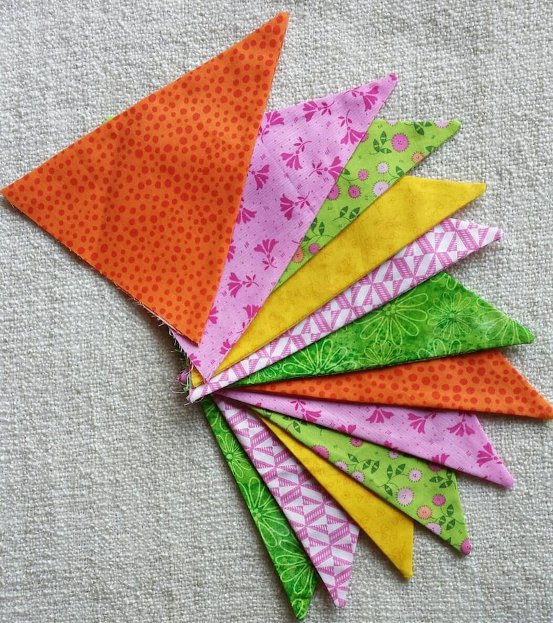 child/'s room or glamping Orange Yellow Green Pink Easter spring Summer Citrus Brights  fabric pennant bunting banner for parties nursery