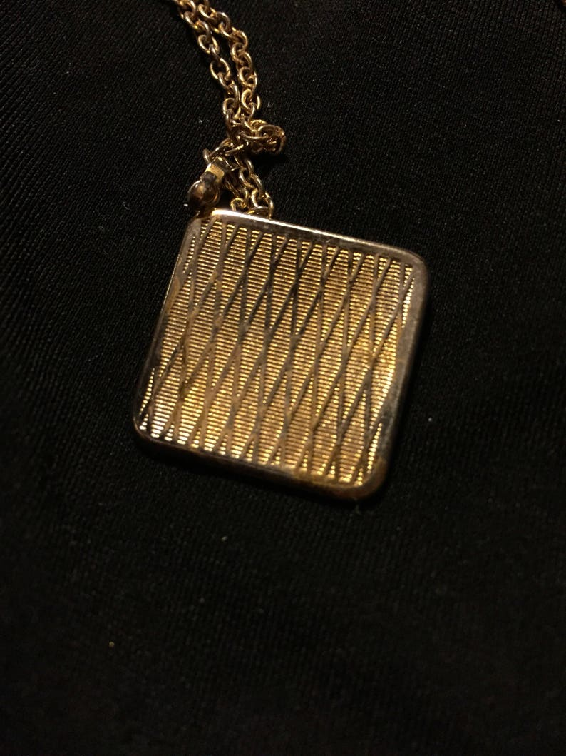 Damascene necklace Save 15/% Vtg square fob,22 inch chain collectible jewelry bird pendant costume jewelry blk gold jewelry