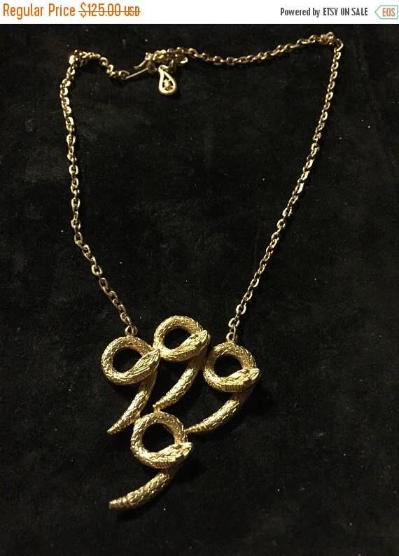 Vtg, Coro necklace  Coro snake necklace, gold sna… - image 3