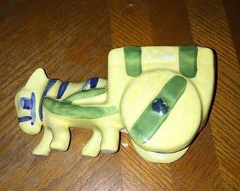 Vtg, donkey planter, yellow planter, yellow donkey, remote holder,vtg planter, distressed planter, pottery planter, donkey and cart
