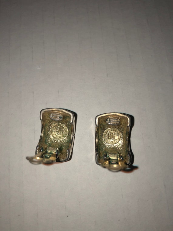 Vtg Givenchy clip on earrings, textured earrings,… - image 3