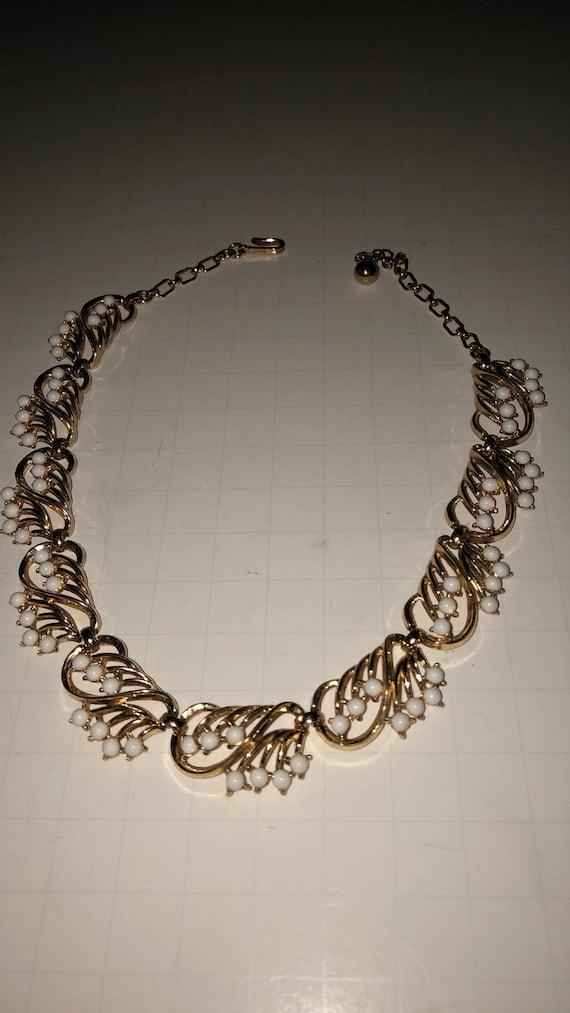 Vtg , Trifari goldtone, goldtone white bead, Trifa