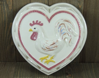 Large Ceramic Heart Shaped Rooster Jello Mold