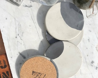 Moon Charcoal & Natural Concrete Coaster (Set of Four)