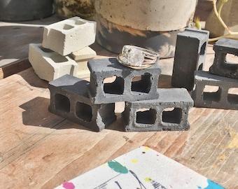 Miniature Charcoal Colored Concrete Block Set of Three