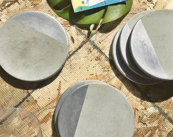 Concrete Coaster with Silver (Set of Four)