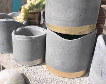 Small Concrete Planter Vessel Catchall Tealight Holder With Metalic Gilding Detail