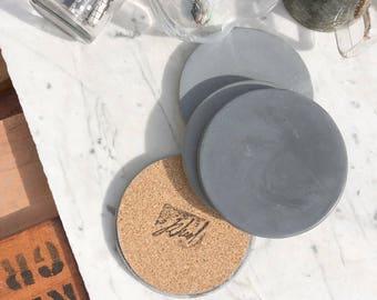 Charcoal Concrete Coaster (Set of Four)