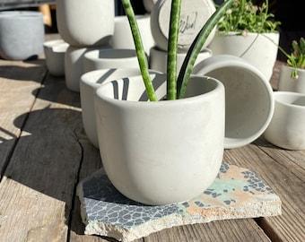 "3"" Round Concrete Pot (Natural)"