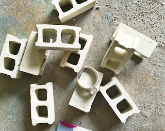 Miniature Concrete Block Set of Three