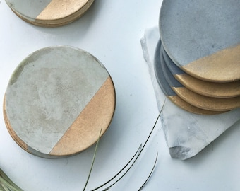 Charcoal Concrete Coaster with Gold (Set of Four)