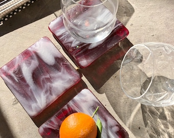 Limited Batch Marbled Glass Coaster  (Set of Four) Cranberry Ice
