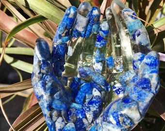 Resin Lapis  Lazuli Crystal Filled Hands Catchall Card Holder Jewelry Ring Holder Tealight Holder
