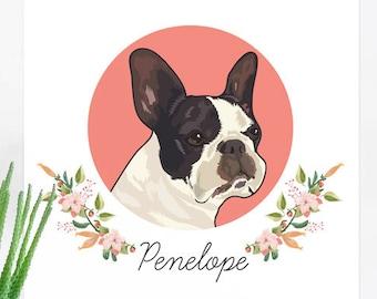 Pet Portrait, custom pet portrait, pet remembrance gift, pet sympathy gift, dog portrait, pet portraits, pet loss, family pet portrait