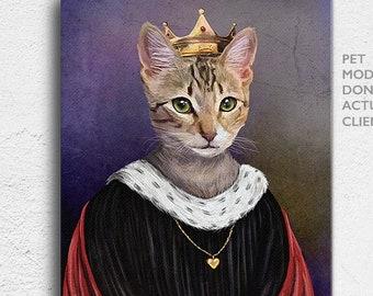 Queen Pet Portrait, Royal Pet Portrait, Pet Portrait, Custom Pet Portrait, Queen Pet, unique gifts, funny pet portrait, queen dog, queen cat