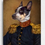 Custom Pet Portrait, Pet portraits, regal pet portrait, Regal military, royal Pet Portrait, unique gifts, funny gifts, dog art, unique gift