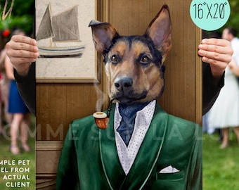 Custom Pet Portrait, pet portrait, Smoke Jacket, Regal Pet Portrait, royal Pet Portrait, unique gifts, funny gifts, mad men, regal dog