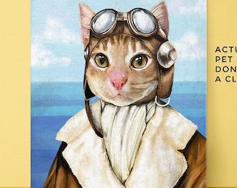 Pet Portrait, Pilot Pet Portrait, Custom Pet Portrait, Pet portraits, Pilot pet, funny pet portrait, vintage pilot, vintage pilot pet