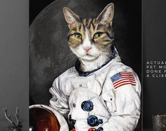 Custom Astronaut Pet, pet portraits, custom pet portrait, Astronaut Pet, Space Pet Portrait, Astronaut dog, unique gifts, funny gifts