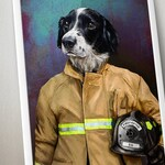 Custom Firefighter Pet Portrait, Pet portraits, Custom Pet Portrait, pet art, firefighters, custom pet,unique gifts,funny gifts,unique gift