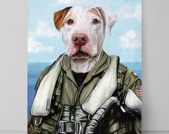 Fighter Pilot, Pet Portrait, Custom Pet Portrait, Pilot dog, navy fighter, Top Gun, Pet portrait custom, funny pet portrait,Custom Air Force